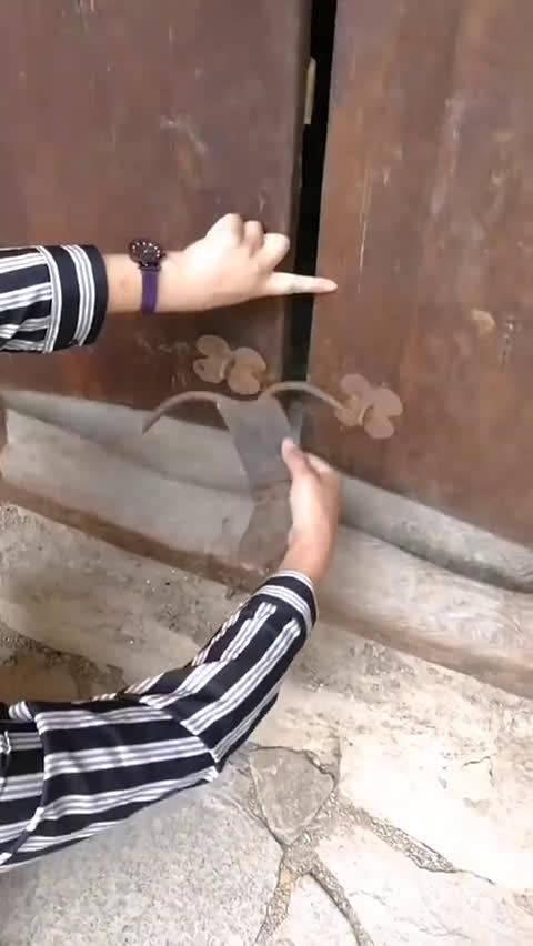 藏族民居最常用的牛头锁。