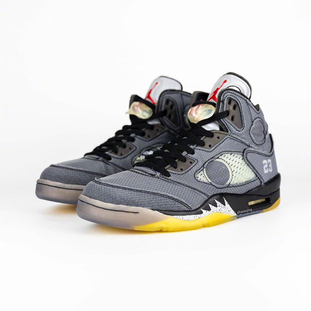 将于明年2月份发售的OFF-WHITE x Air Jordan 5联名鞋款。