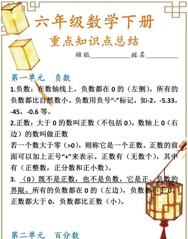 小学数学:6年级下册知识重难点汇总