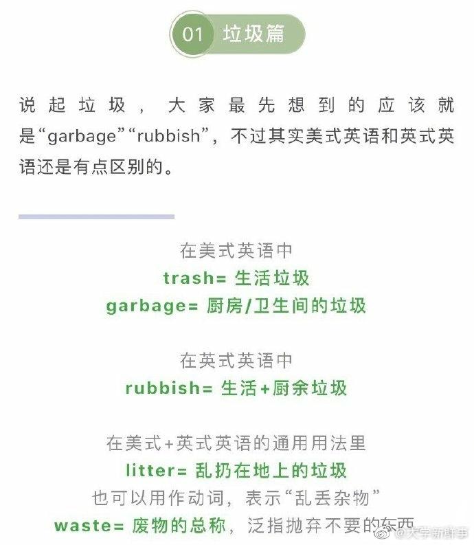 关于垃圾分类的一些常用词汇,英语四六级和考研说不定就能考到