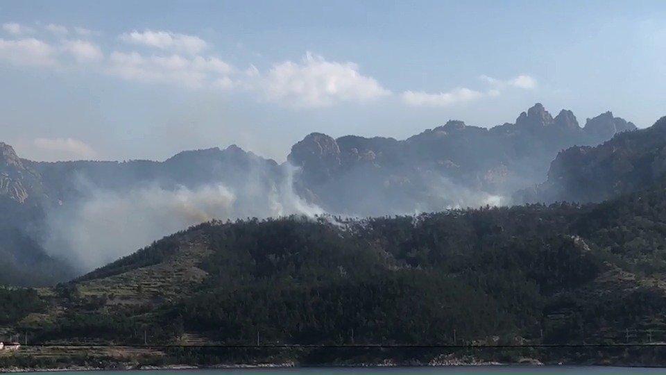 崂山水库大坝南侧山林,局部浓烟滚滚升起,据目击者称疑似山林起火