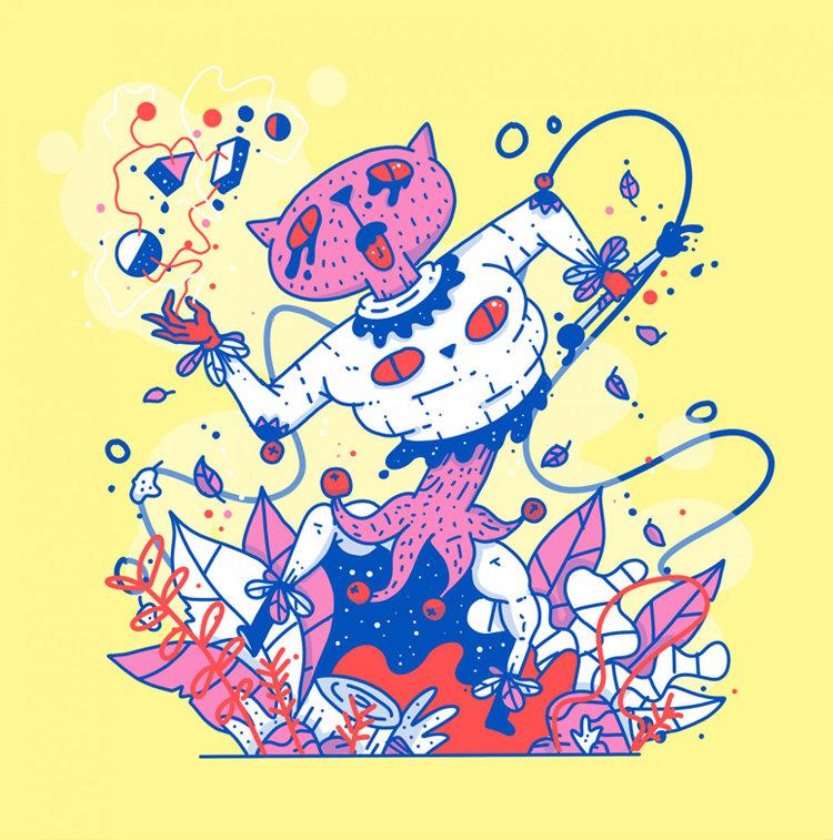 只用几种颜色就可以画出这么有创意的插画