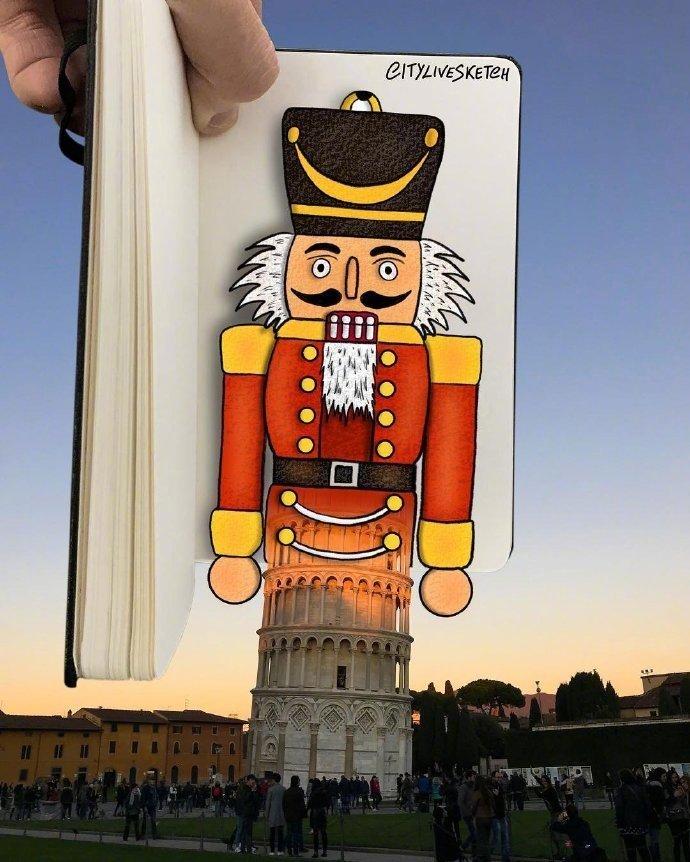 比萨斜塔遇上可爱手绘