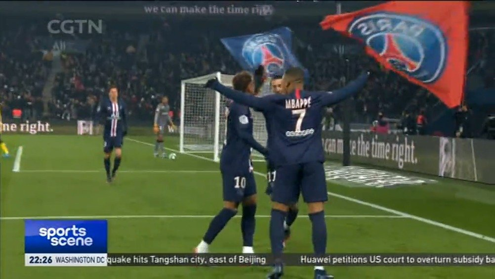 法甲-姆巴佩内马尔建功 巴黎圣日耳曼完胜南特