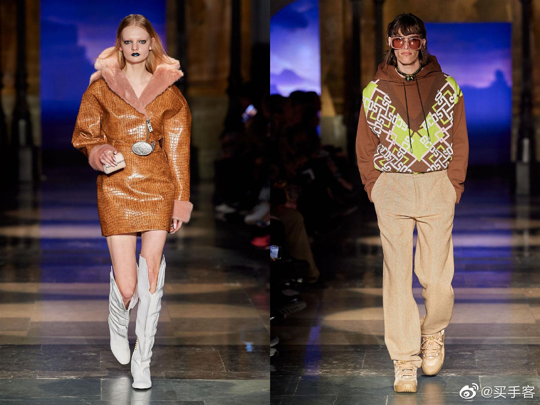 GCDS F/W 2020   亮片装饰,明亮色调的宽肩上衣,浪漫的荷叶边裙子