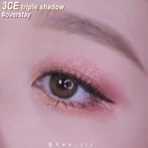 ig刷到3CE triple shadow 三色眼影 overstay色号的眼妆示范~blingbli