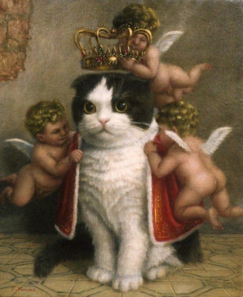 日本当代艺术家 Tokuhiro Kawai 以猫咪为主题创作的作品