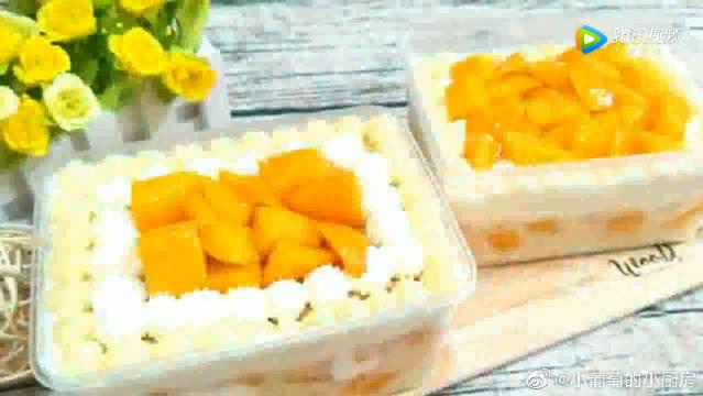 教你做芒果蛋糕盒,香甜美味的甜点,比糯米糍做法还简单!