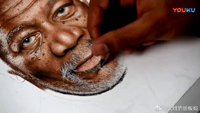 绘画电影明星肖生克的救赎摩根弗里曼Morgan Freeman,喜欢么大家?