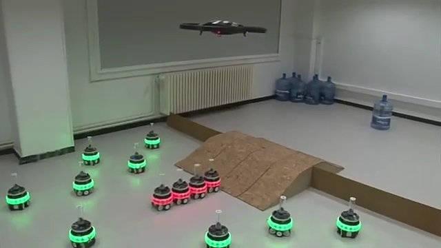 地面蜂群机器人与四旋翼无人机联合执行任务