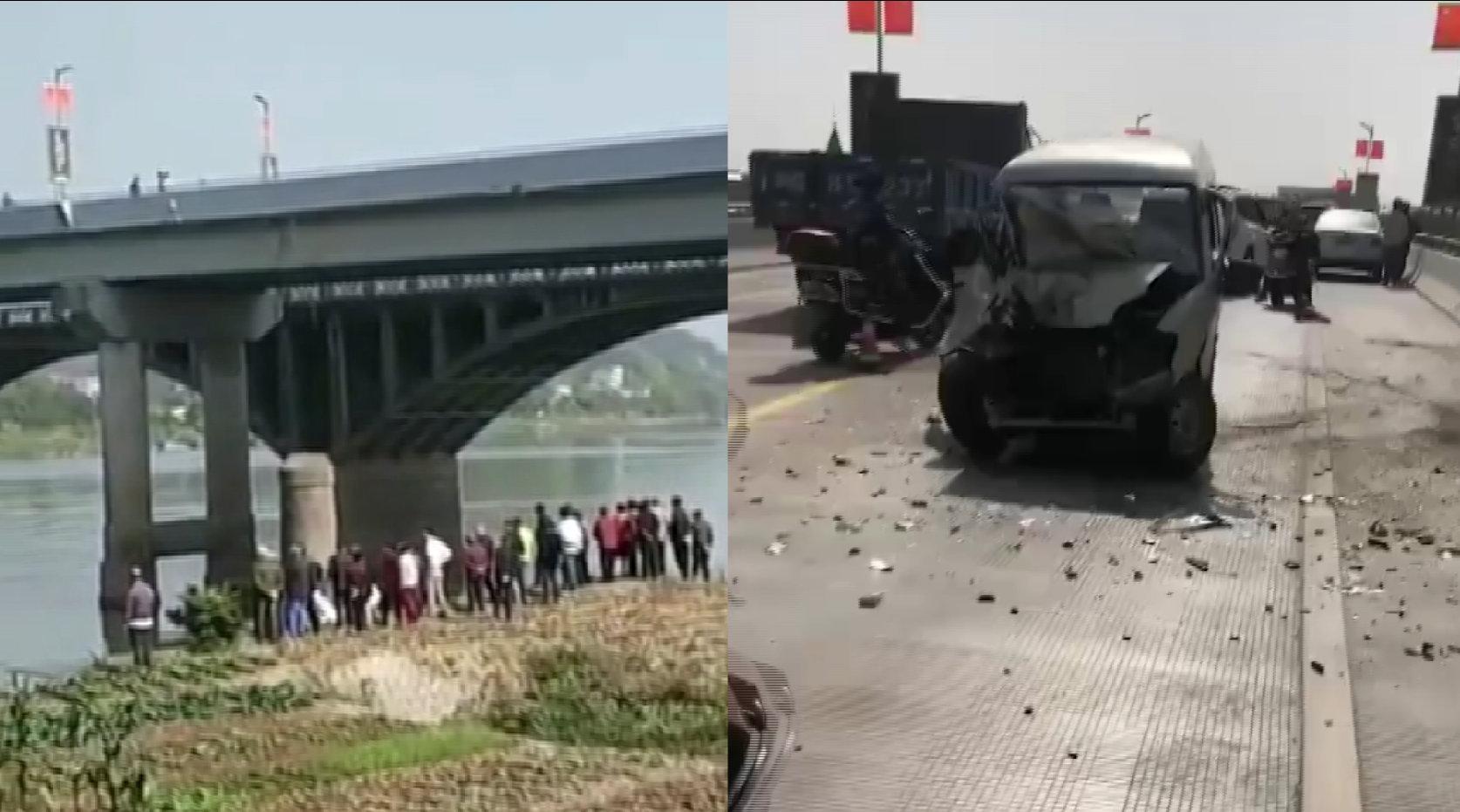 浙江兰溪南门大桥发生两车相撞事故,一小车被撞落水