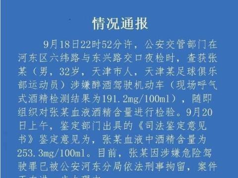 国门张鹭醉驾遭刑拘,中国球员自律性再次缺位 | 新京报快评