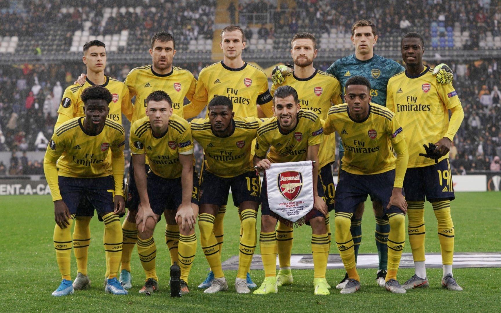 2019-2020赛季欧联杯小组赛:吉马良斯1-1阿森纳,塞瓦略斯首发出场