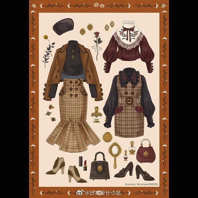 日本插画师ふわっとん笔下的服饰造型。(ins:fouatons2013)