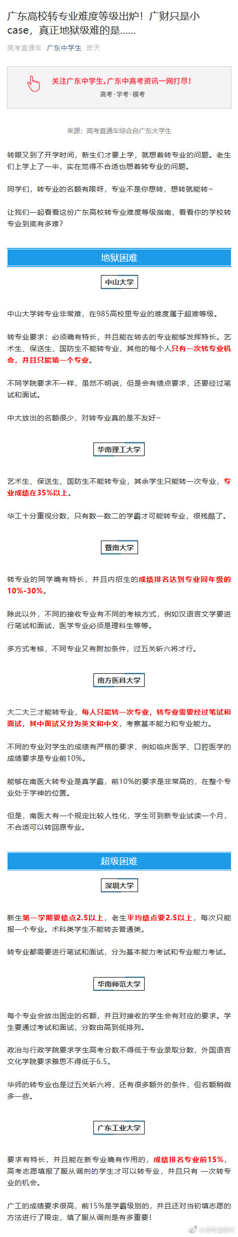 广东高校转专业难度等级出炉!有没有想转专业的同学?
