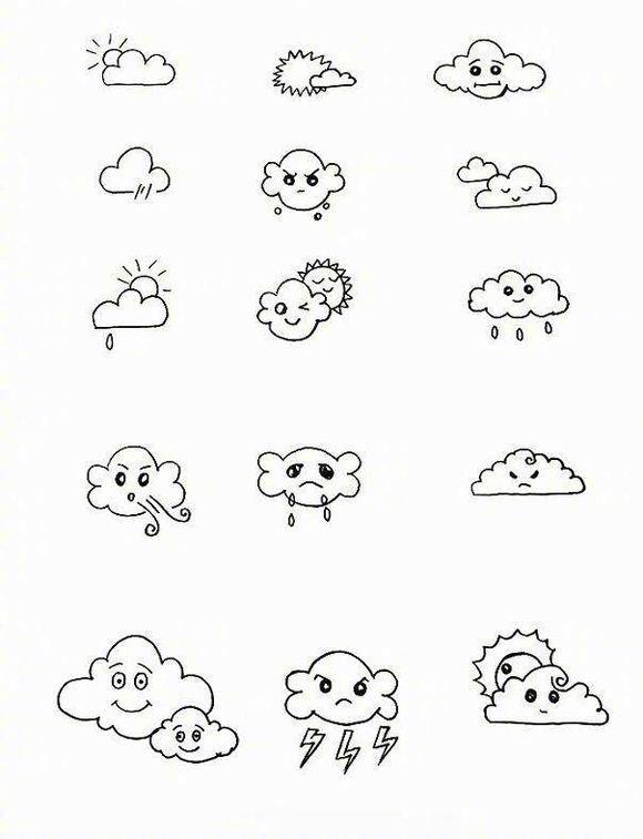 上百个天气小素材简笔画,很可爱很简单.