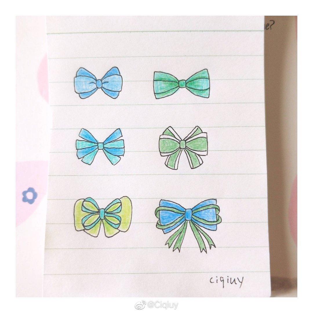 简笔画下多种多样的蝴蝶结少女感爆棚 送给可爱的你们