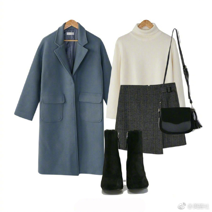 雾霾蓝大衣搭配法则。