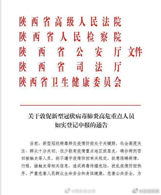 陕西:2月16日18时前新冠肺炎高危重点人员须如实登记申报