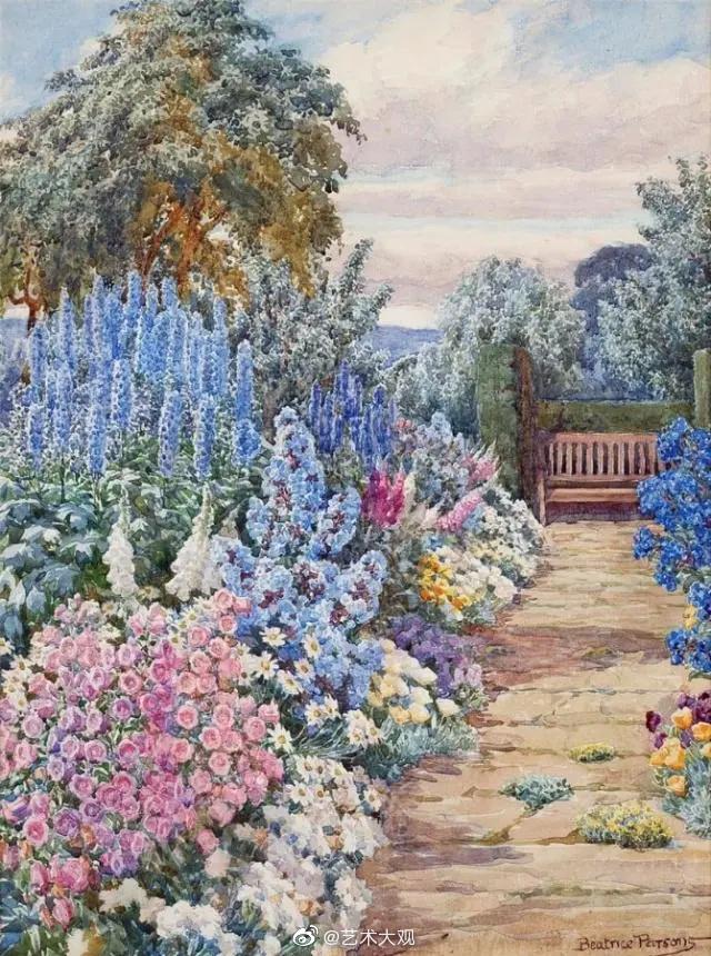 鲜花盛开的季节   英国艺术家Beatrice Parsons绘画作品
