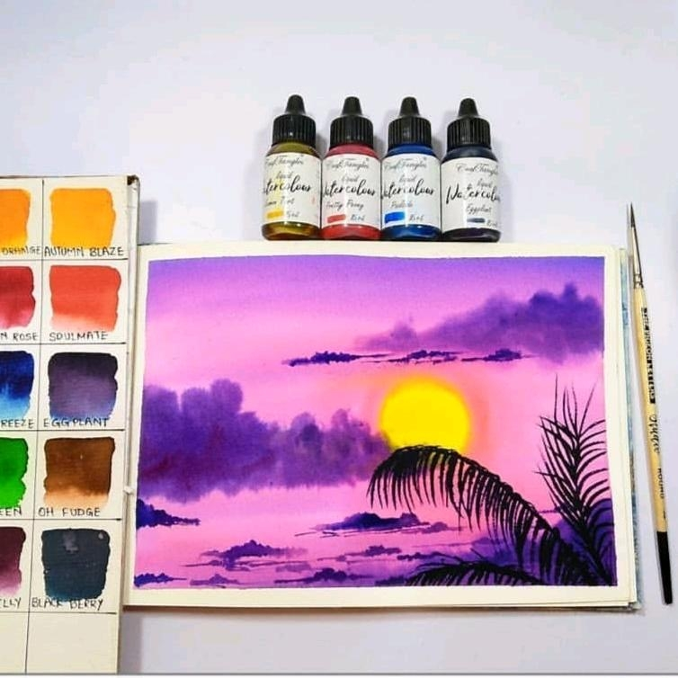 唯美的夕阳水彩画教程~
