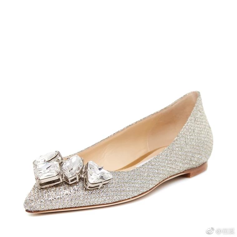 Jimmy Choo/周仰杰 经典款牛皮香槟色仿水晶优雅女鞋平底单鞋婚鞋