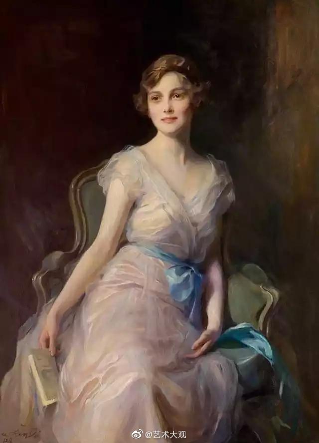 匈牙利画家菲利普·亚历克西斯女性肖像油画欣赏-2