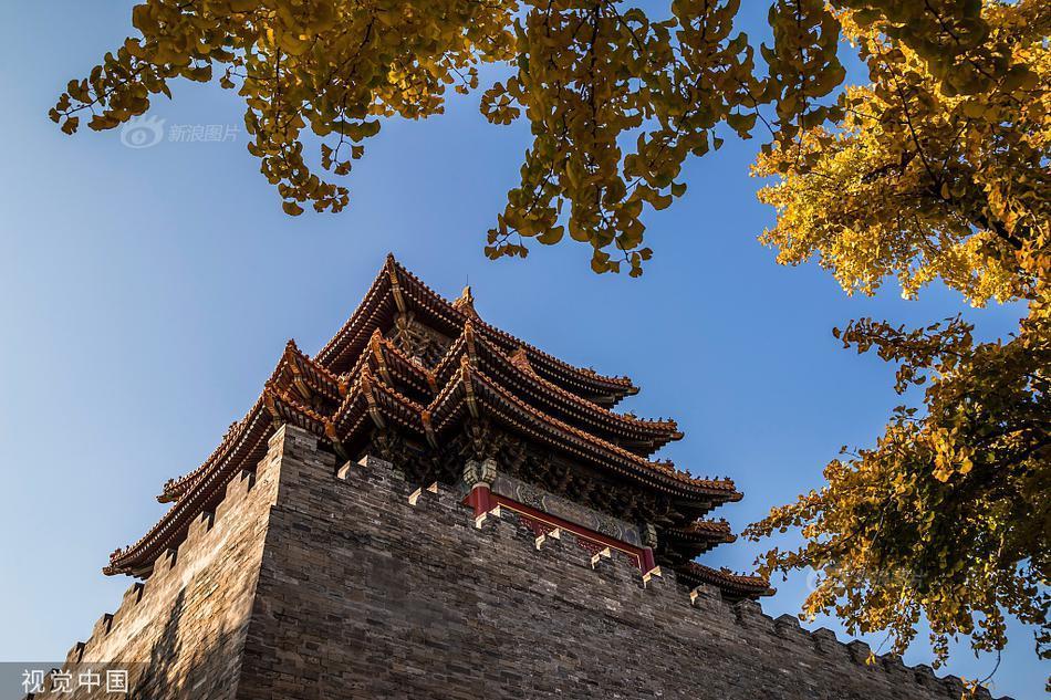 故宫博物院护城河畔秋色正浓,古建与银杏黄叶交相呼应。