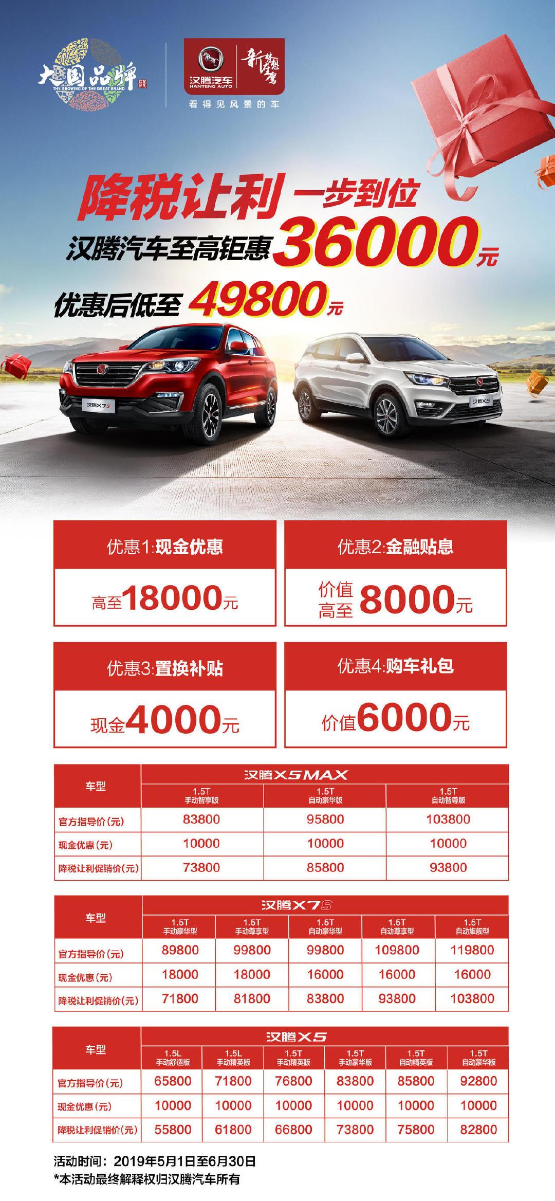 现在买SUV太划算了,汉腾汽车这三款车型最高钜惠3.6万元