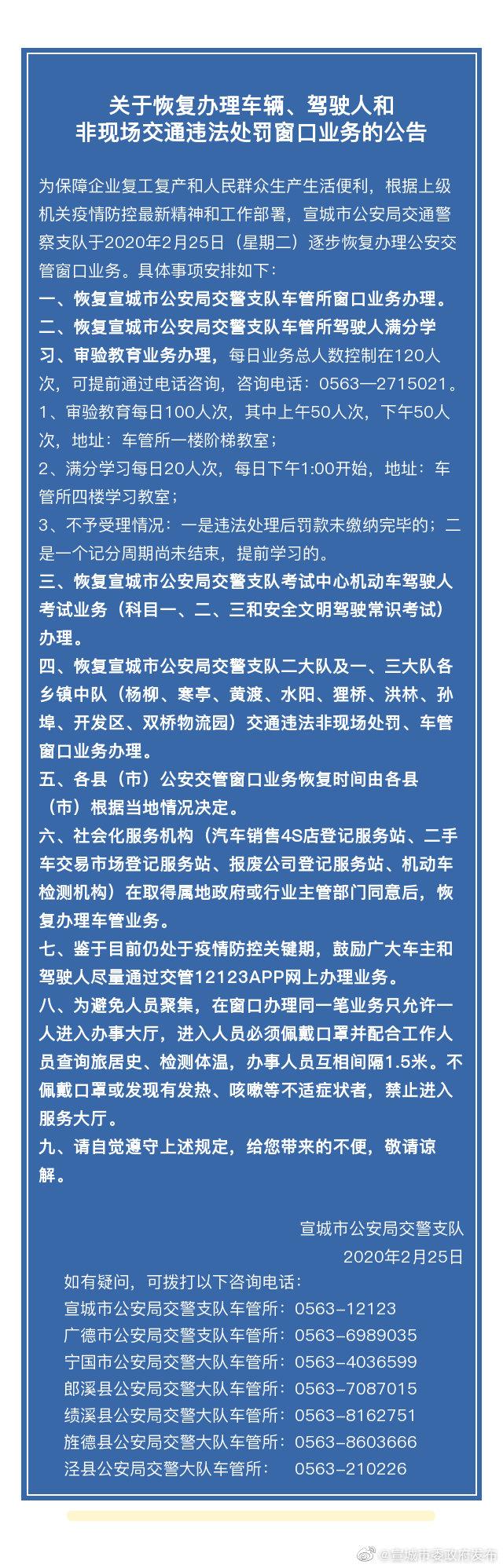 关于恢复办理车辆、驾驶人和非现场交通违法处罚窗口业务的公告