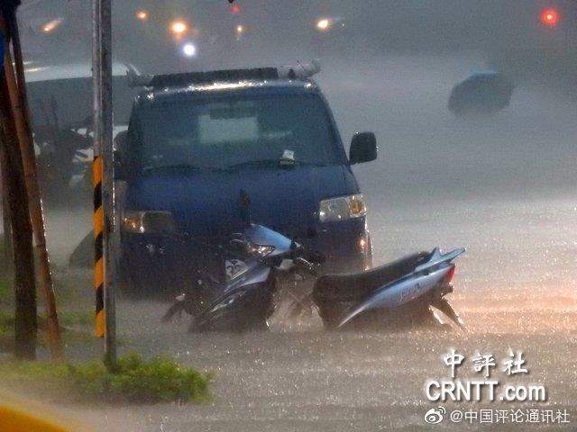 中南部因为西南气流带来强烈雨势, 市区开始下起强降雨2个多小时后