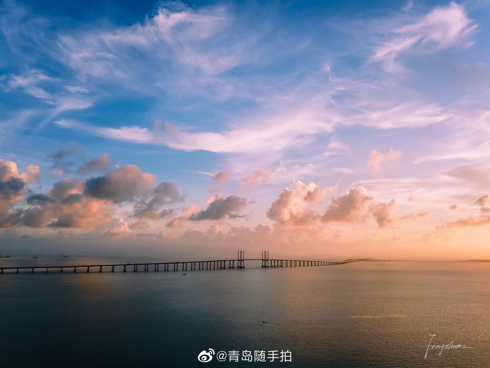 胶州湾大桥的晚霞,惊艳了时光