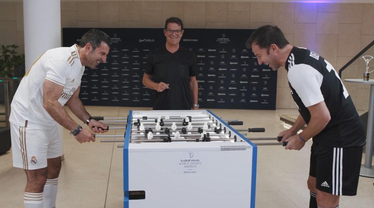 菲戈和皮耶罗PK桌上足球,卡佩罗客串裁判,最后的结局竟然是…