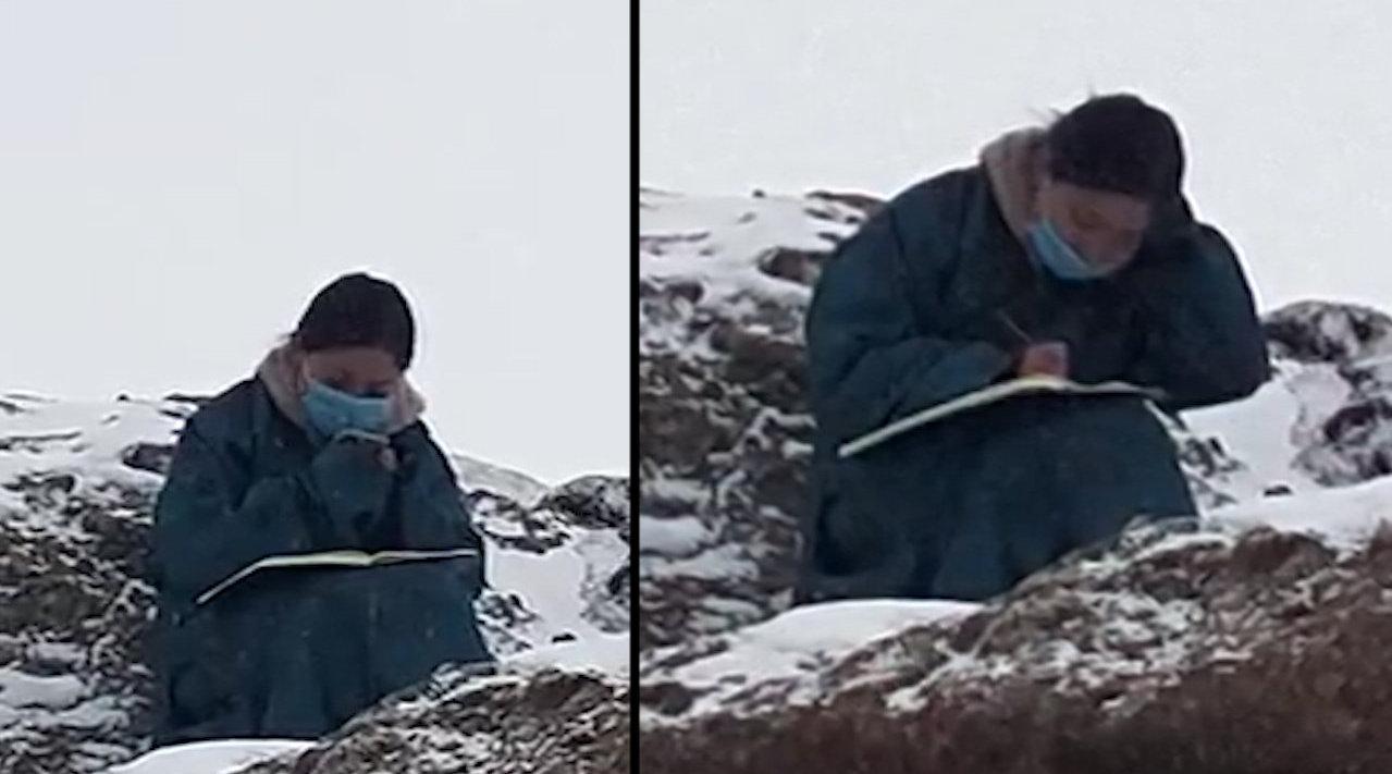 西藏女大学生4800米雪山顶上网课,手脚被冻冰凉,太心疼