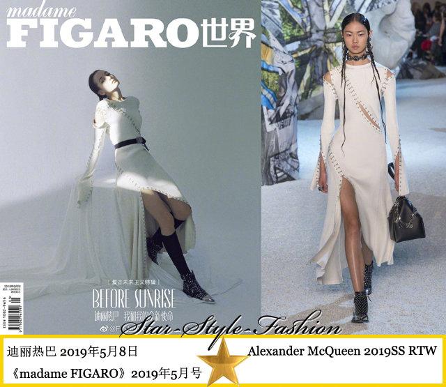 热巴身着mcqueen2019春夏系列缝合线装饰白色连身长裙登《madame FIGA