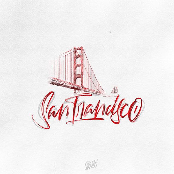 设计师在世界旅行中结合知名建筑与手绘字体的创意设计欣赏图片