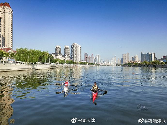 网友@夜魅津城 抓拍的今天上午2019天津海河皮划艇马拉松赛