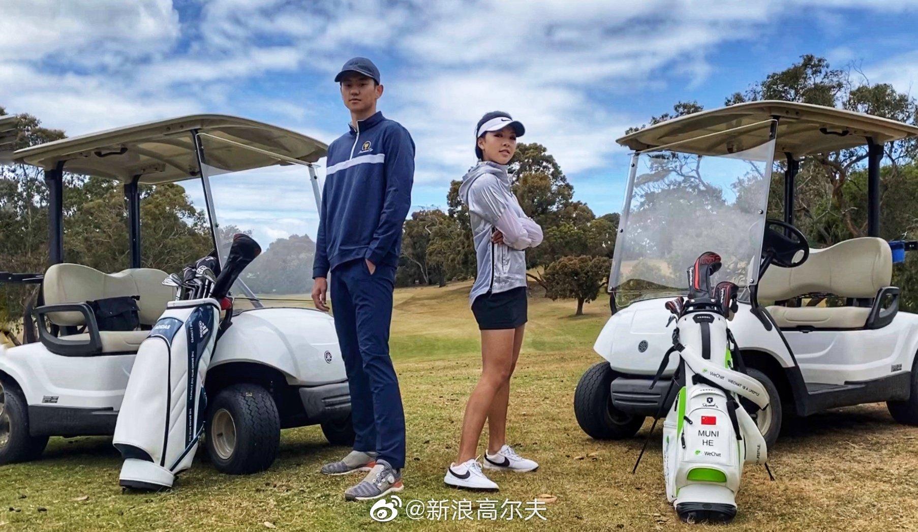 @宁泽涛 与高尔夫美女职业球员@何沐妮Golf 在墨尔本跨界互动