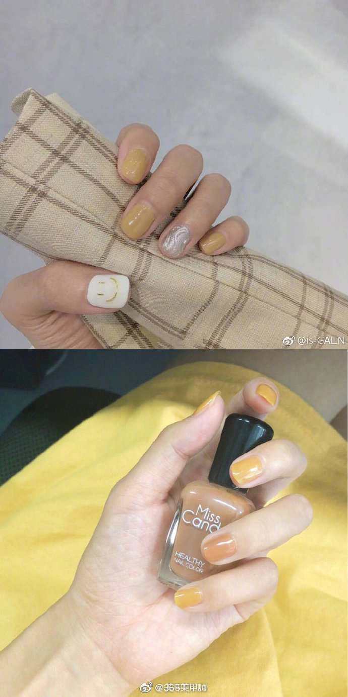 超显手白的黄色系列秋冬美甲,今冬超爱的颜色!