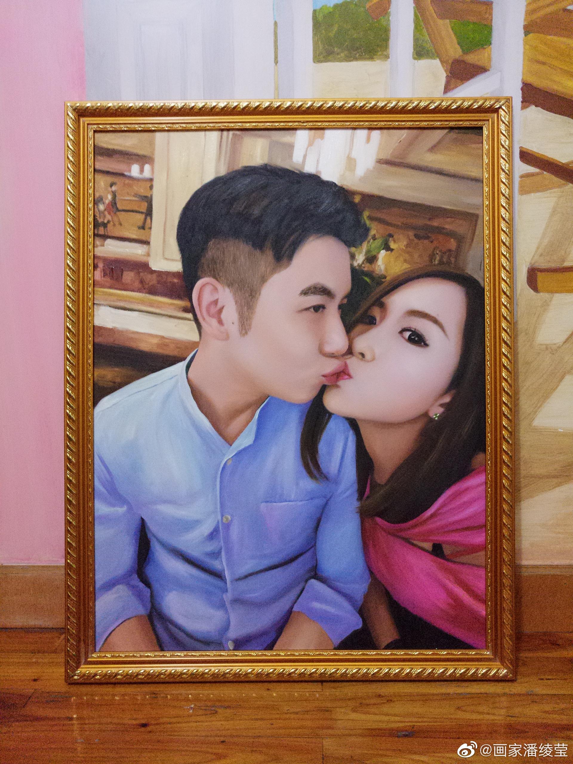 恋爱中的情侣油画