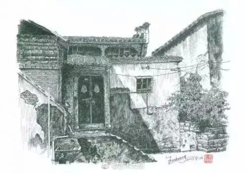 王恩贶风景钢笔画 -2