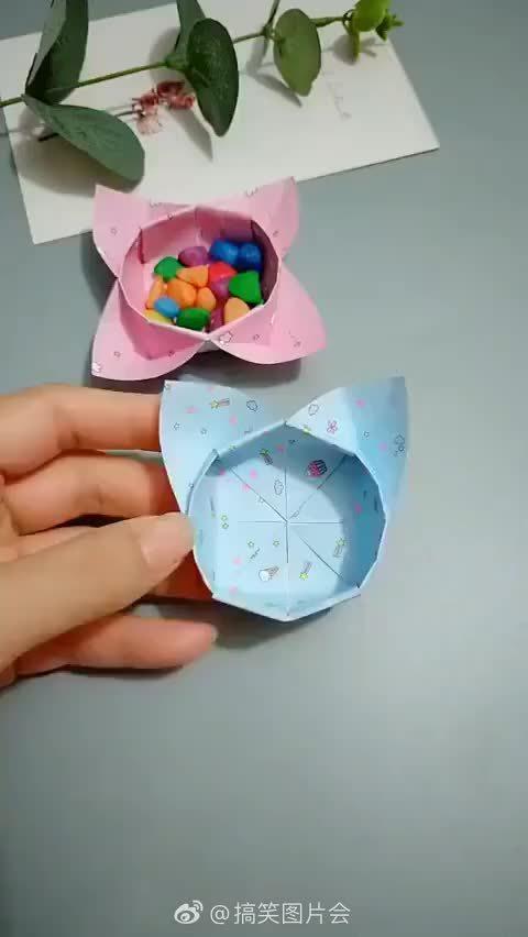 一个超可爱的猫耳朵的小收纳盒子,教小朋友做起来!