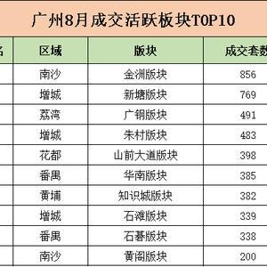 广州8月成交活跃版块TOP10 销冠居然是……