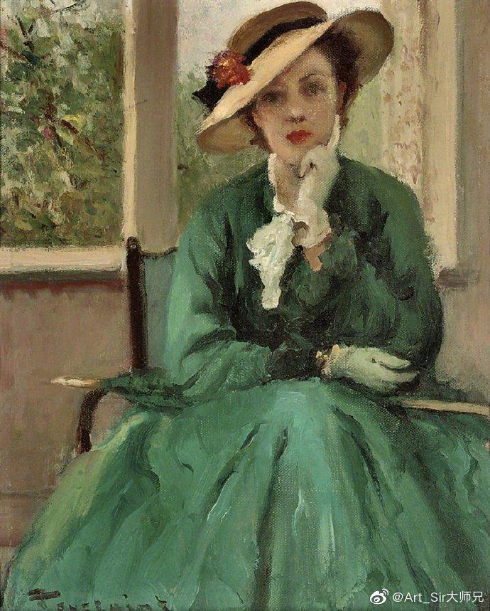 油画家笔下的绿裙子
