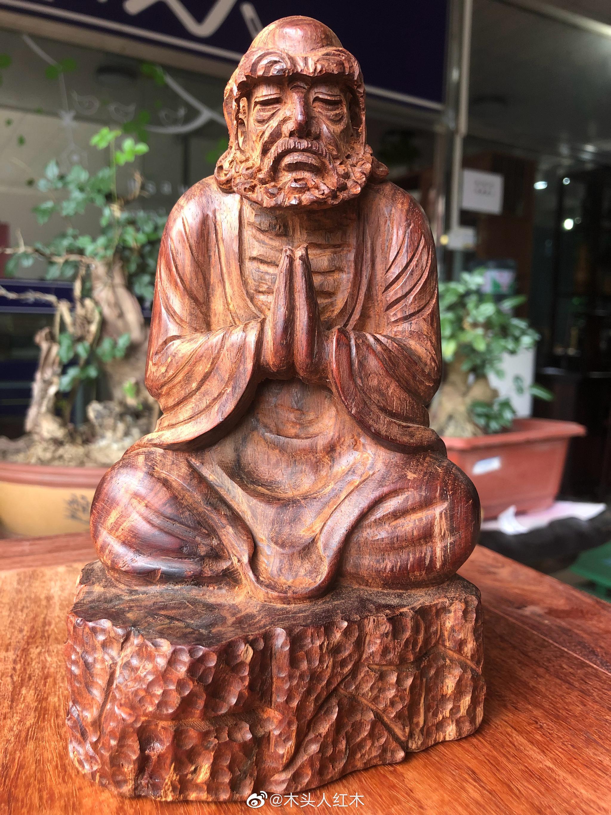 大红酸枝全手工木雕达摩20cm高,再细抛光打磨打蜡包邮750元。手快有