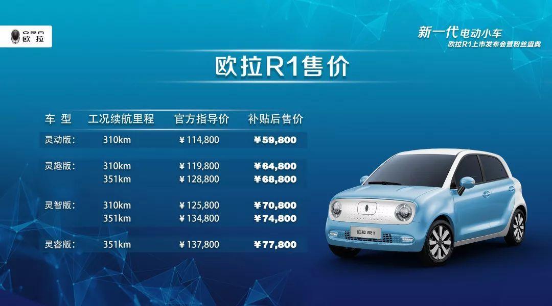 长城首款微型电动车上市,补贴后5.98万起,欧拉R1买哪款最值?