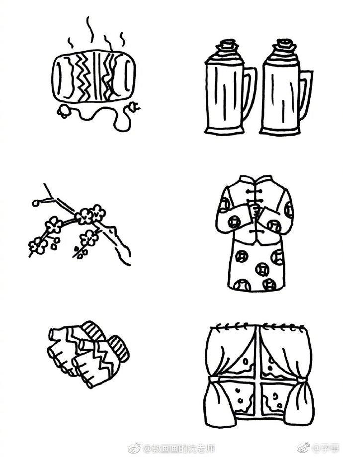 冬天春节主题简笔画手绘手帐素材 教画画的沈老师