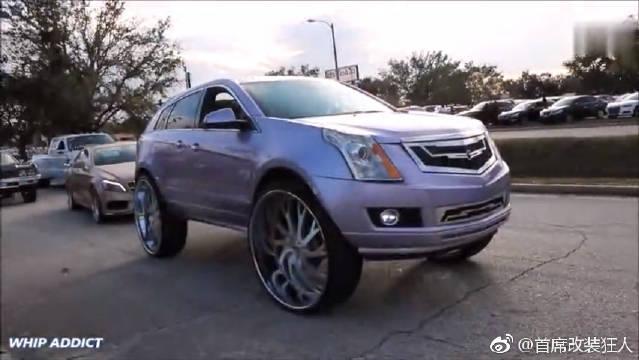 视频:凯迪拉克SRX,超级改装车,巨大的钢圈,没有顶棚