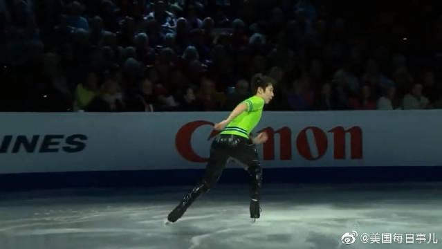 波士顿世界花样滑冰锦标赛,金博洋表演滑,荧光绿超级萌
