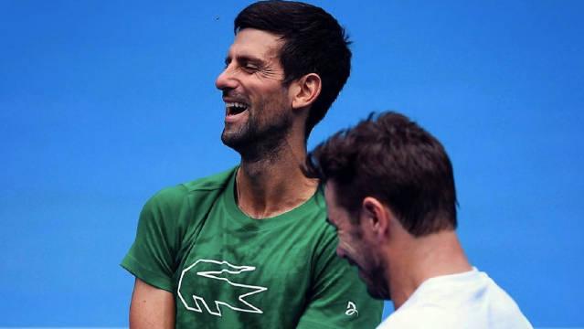 两位澳网冠军德约科维奇今天和瓦林卡今天在墨尔本一起进行了训练